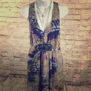 ICE beaded belted floral maxi dress/cover